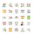 real estate icons pack in flat design vector image vector image
