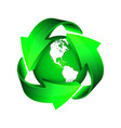 recycle arrows and green earth vector image vector image