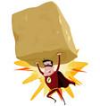 red superhero raising heavy big rock vector image