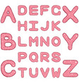 romantic alphabet in girlish style with ruches and vector image vector image