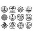 sea anchor sailing ship and helm nautical badges vector image vector image