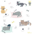 seamless childish pattern with cats vector image vector image