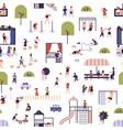 seamless pattern with kids at modern kindergarten vector image vector image