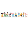 set cute people in casual trendy clothes mix race vector image vector image