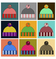 set of icons in flat design hat vector image vector image