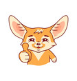 smiling pleased fennec fox shows his thumb vector image vector image