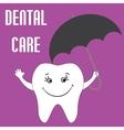Smiling tooth under umbrella vector image vector image