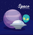spaceships with planet and alien vector image vector image