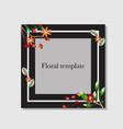 square floral frame on dark background vector image vector image