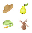 straw hat pear with leaf watering hose windmill vector image vector image