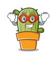 super hero cute cactus character cartoon vector image vector image