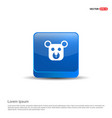 teddy bear icon - 3d blue button vector image
