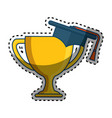 trophy cup with hat graduation award isolated icon vector image
