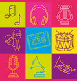 tropical instruments set icons vector image vector image