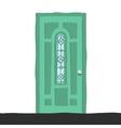 cartoon flat abstract green door icon vector image