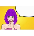 Comic girl with speech bubble Pop Art Party vector image