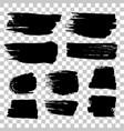 grunge black rough brush strokes set vector image
