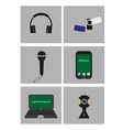 Set of flat icons - mobile technology vector image