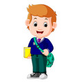 cute boy with backpack cartoon vector image