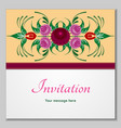 greeting card with stylized flowers and ribbons vector image