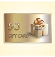 abstract golden gift card with box vector image vector image