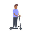 african boy riding electric kick scooter over vector image