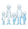 blue silhouette shading caricature family with vector image