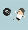 businesswoman kicking debt bomb ball away vector image vector image