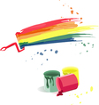 Cans of paint and splashes of different colors vector image vector image