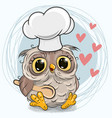caroon owl in a cook hat with spoon vector image
