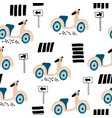 childish seamless pattern scooter on road vector image