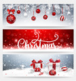 christmas banners set with balls and gifts vector image vector image