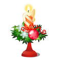 christmas sketch with burning candle in candle vector image