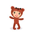 comic boy or girl character in plush brown bear vector image vector image