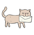 comic cartoon cat carrying letter vector image