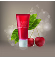 cosmetic red mock-up with leaf and cherry vector image