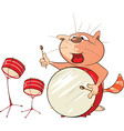 Cute Cat Drummer Cartoon vector image vector image