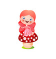 cute smiling red hair fairy girl stay on red vector image vector image