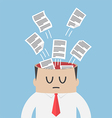 Data paper flying out from businessman head vector image vector image