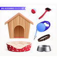 dog accessories realistic set vector image