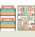 Flat Design Bunk Bed With Big Bookcase vector image vector image