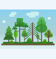 flat style forest on blue sky background vector image vector image