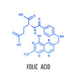 folic acid molecular chemical formula on isolated vector image vector image