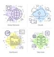 Four Datacenter Icon Set vector image