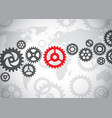 gears on the world background vector image vector image
