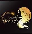 golden silhouette a girl beauty salon vector image vector image