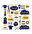 graduation photo booth school party props vector image