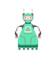 Green Friendly Android Robot Character On Six vector image