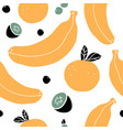 hand drawn seamless pattern with bananas oranges vector image vector image
