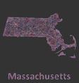 Massachusetts line art map vector image vector image